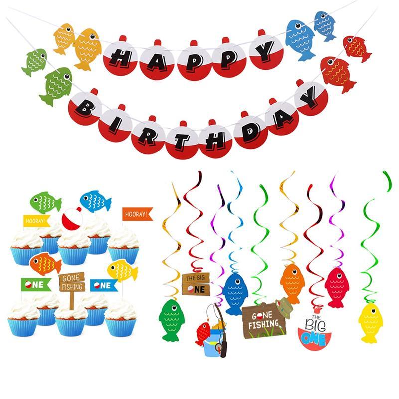26 pièces/ensemble parti pêche thème fête spirale décoration fête poisson bannière gâteau Topper pour ornement danniversaire