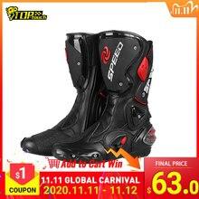 Botas para motociclista profesional para hombre, zapatos para Moto de carreras, Motocross, todoterreno, de motocicleta de carretera