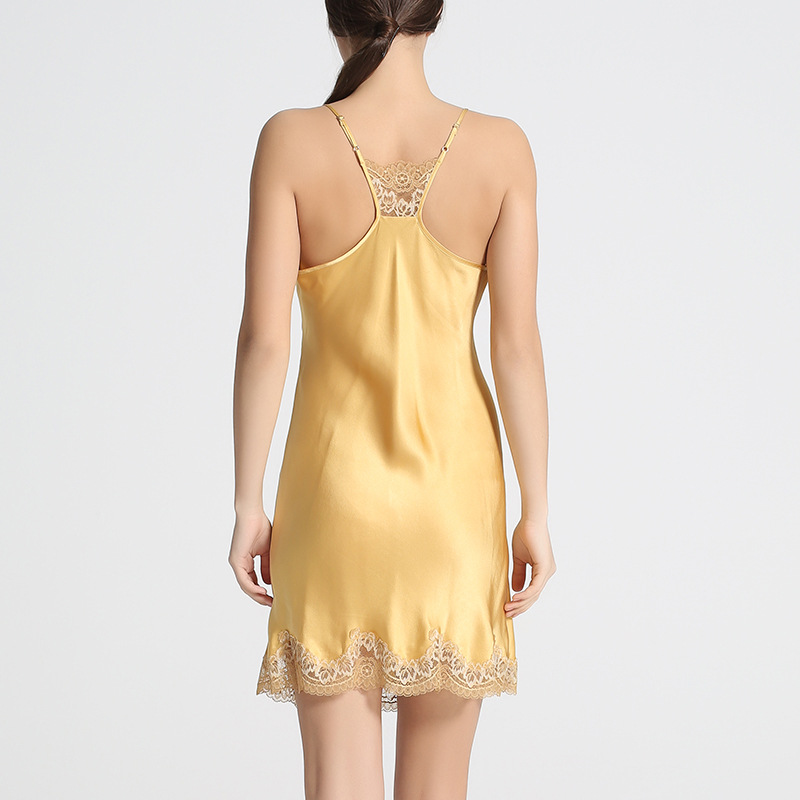 Sexy Echte Zijde Lingerie Zijden Nachthemd Vrouwen Jurk Lace Night Dress Nachtkleding Nightie Geel Satijn Homewear Dames Nachtkleding - 5