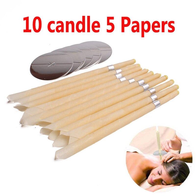 10 шт., ушные свечи, воск для чистки ушей, натуральный пчелиный воск, прополис, Индиана, терапия, ароматизатор, Свеча-конус, релаксация
