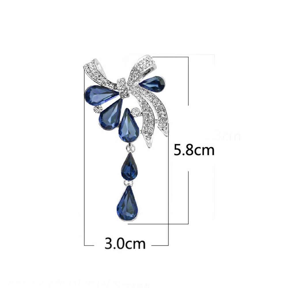 Ikatan Simpul Air-Drop Bentuk Bros Mengkilap Crystal Bros Pernikahan Pengantin Korsase Wanita Pesta Perjamuan Perhiasan Hadiah