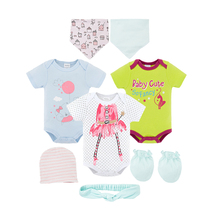 Fashion Girl Suits 8PCS Newborn Baby Bodysuits Set Infant Girls Clothes Playsuit Romper Outfit with Hats Bibs Gift