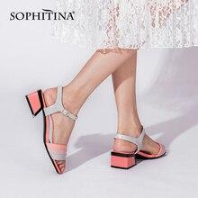 Sophitina cor combinando sandálias femininas moda fivela de couro sapatos femininos dedo do pé aberto meados de salto conciso verão sapatos das senhoras c951