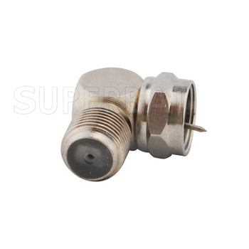 Superbat 5 pcs F Adapter F Plug to Jack Right Angle RF Coaxial Connector