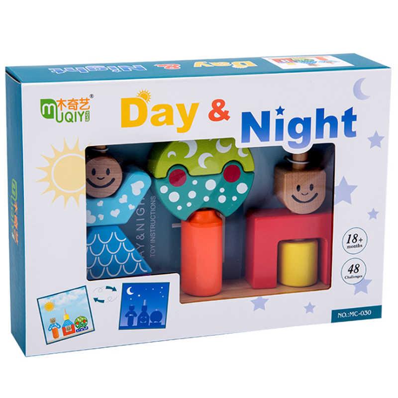 Bayi Pendidikan Mainan Kayu SUN & MOON HARI & Malam Pilar Blok Belajar Awal Anak-anak Ulang Tahun Hadiah Natal 2019 Hot dijual