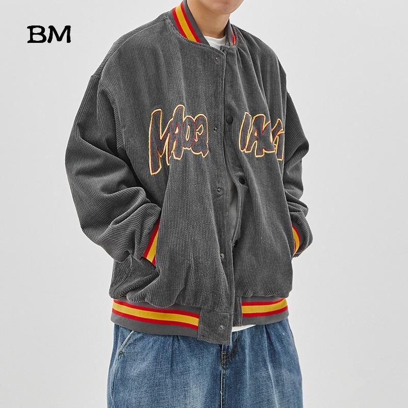High Quality Corduroy Outerwear Coat Hip Hop Fashion Baseball Jacket Male Streetwear Korean Style Clothing Mens Bomber Jackets