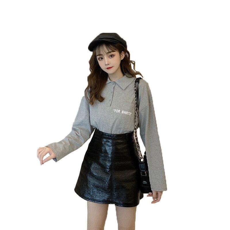Новая Осенняя Женская одежда, свободная женская рубашка поло большого размера с длинным рукавом, однотонная Повседневная рубашка, большие