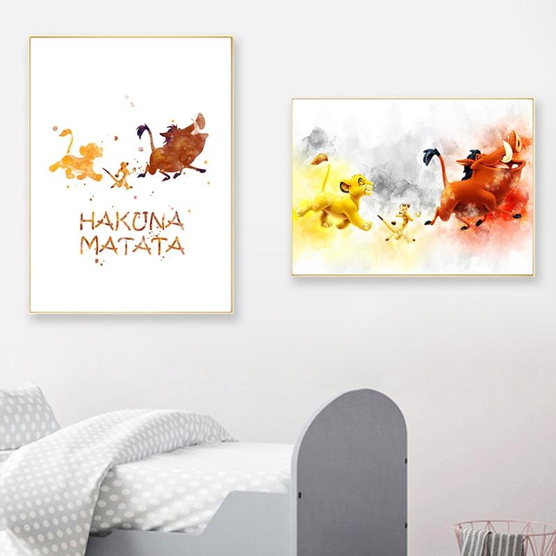 主图_Hakuna_Matata_Watercolor_Print_Wall_Art_Pumbaa_Timon_Simba_Canvas_Poster_The_Lion_King_Art_Painti