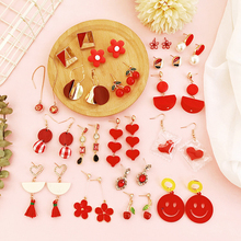 Korean version of fresh ins wind red tassel pearl earrings temperament flowers love wild net red earrings earrings