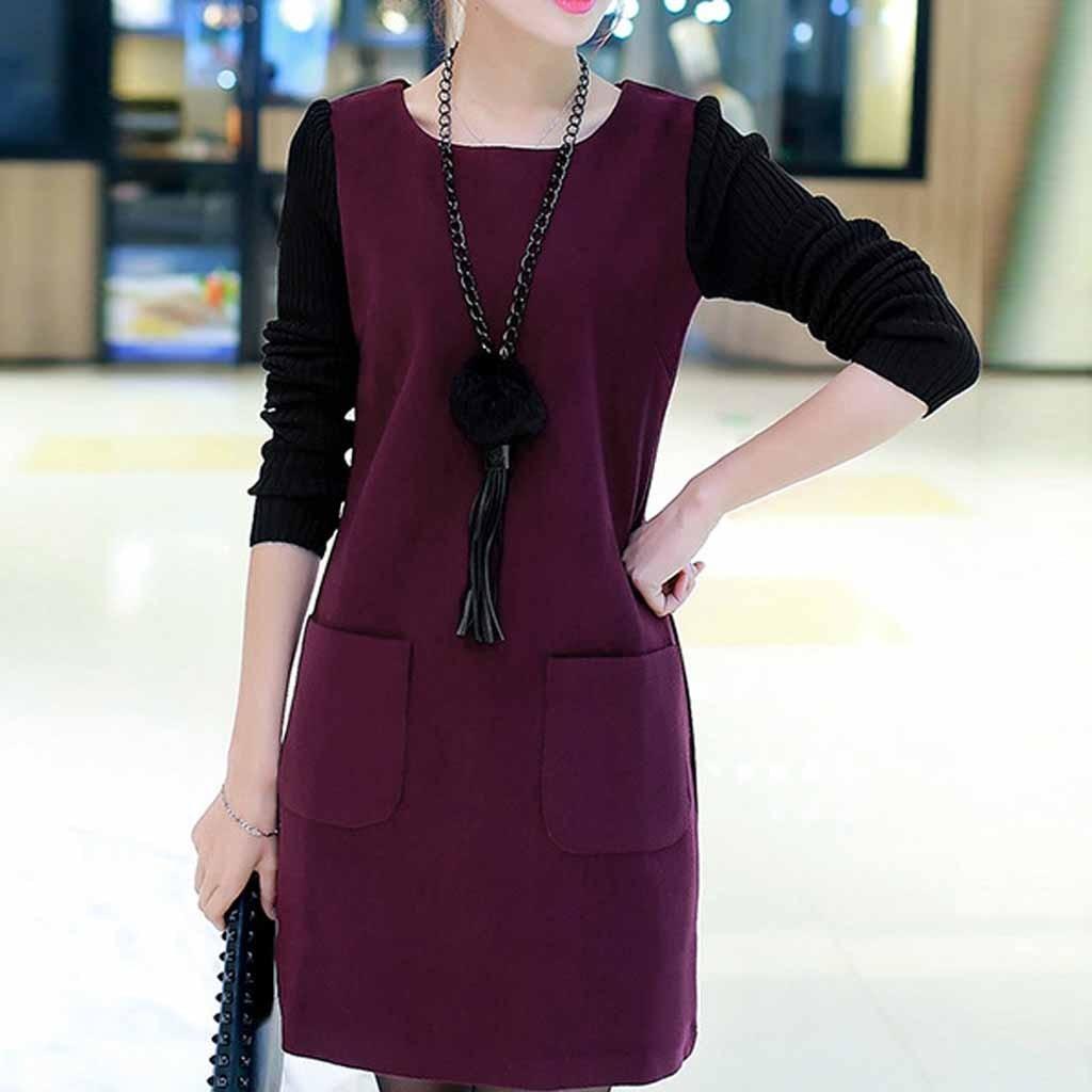 Women Loose Long Sleeve Splice Pocket O-neck Plus Velvet Padded Dress 2020 Solid Plus Size Winter Women Mini Dress Mujer#J30