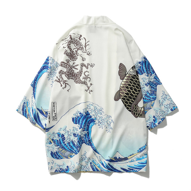 Men Satin Haori Yukata Jacket White Print Kimono Robe Gown Samurai New Loose Japanes Cardigan Male Samurai Costume Clothing