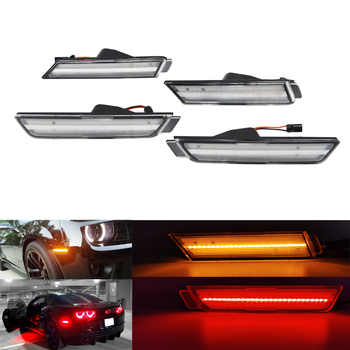 Clear Lens LED Side Marker Front Amber Rear Red for Chevy Camaro For Chevrolet 2010-2015