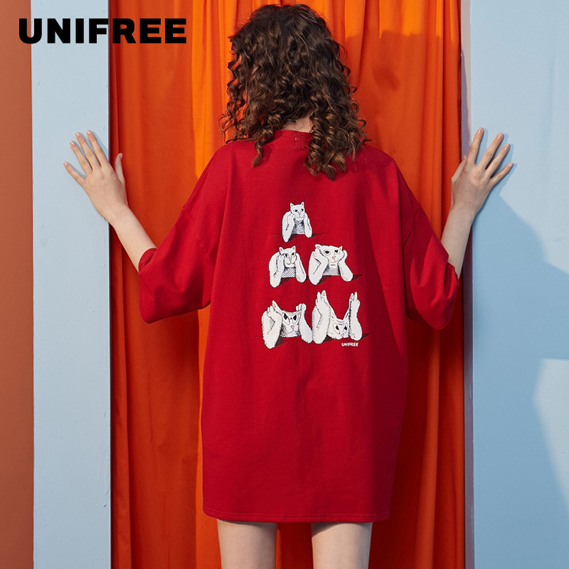Unifree 2020 New T-shirt For Women Short Sleeve Ins Flavor Loose Bottoming Shirt UH182G031