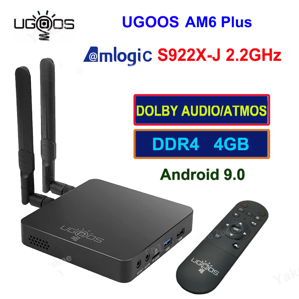 UGOOS AM6 PLUS Smart TV Box Android 9.0 Amlogic S922X-J 2.2GHz 4GB 32GB WiFi Bluetooth 4K Dolby Audio décodeur lecteur multimédia
