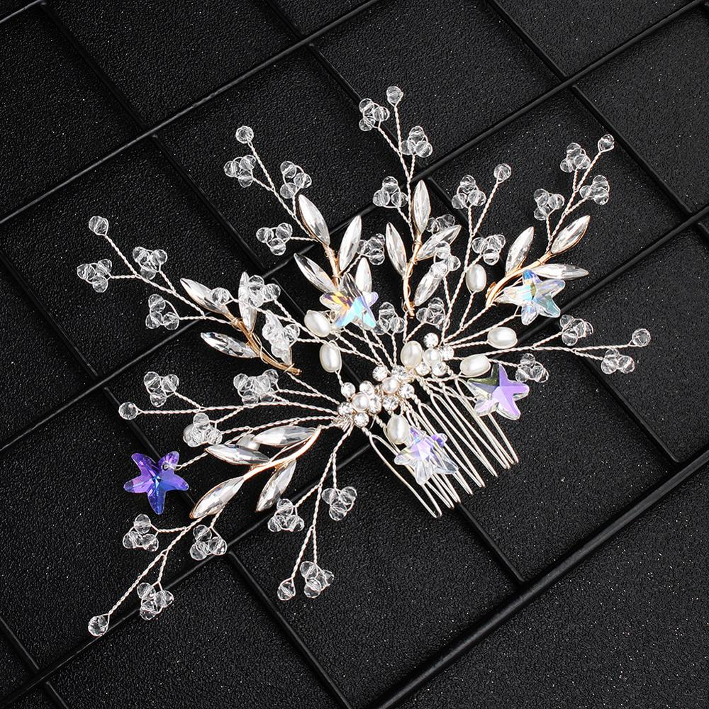 Handmade Wedding Hair Comb Flowers Clips Crystal Bridal Hair Jewelry Accessories Headdress FS114
