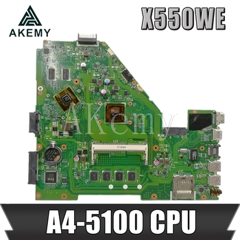 AKEMY X550WE Laptop motherboard for ASUS X550W X550WE X550W D552W X552WE original mainboard A4-5100U 4Gb RAM