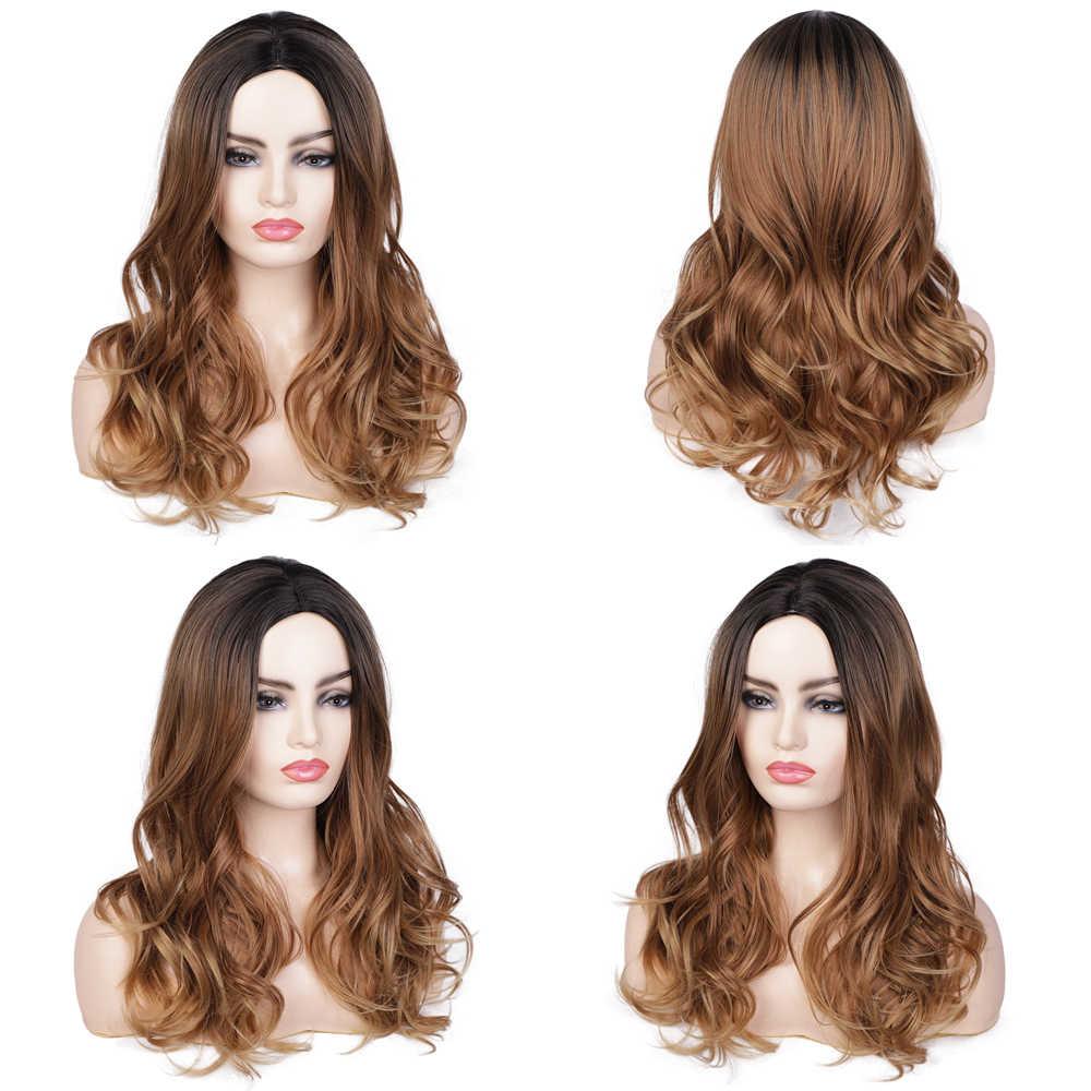Damgalı muhteşem dalga peruk Ombre siyah sarışın peruk sentetik uzun peruk kadınlar için orta kısmı yüksek sıcaklık doğal saç