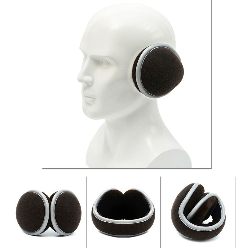 Unisex Winter Polar Fleece Earmuffs With Reflecitve Strip Plush Lining Ear Cover High Quality And Brand New