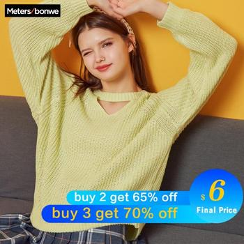 Metersbonwe  Knitted Sweater Women Pullovers V neck Autumn Winter Mix Colour Sweaters Korean Style Loose Fit - discount item  60% OFF Sweaters