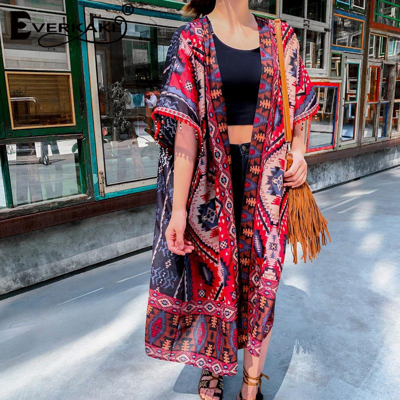 Everkaki Kimono Coats Women Boho Floral Print Tassels Beach Gypsy Ladies Vintage Long Coat Kimonos Female 2020 Summer New