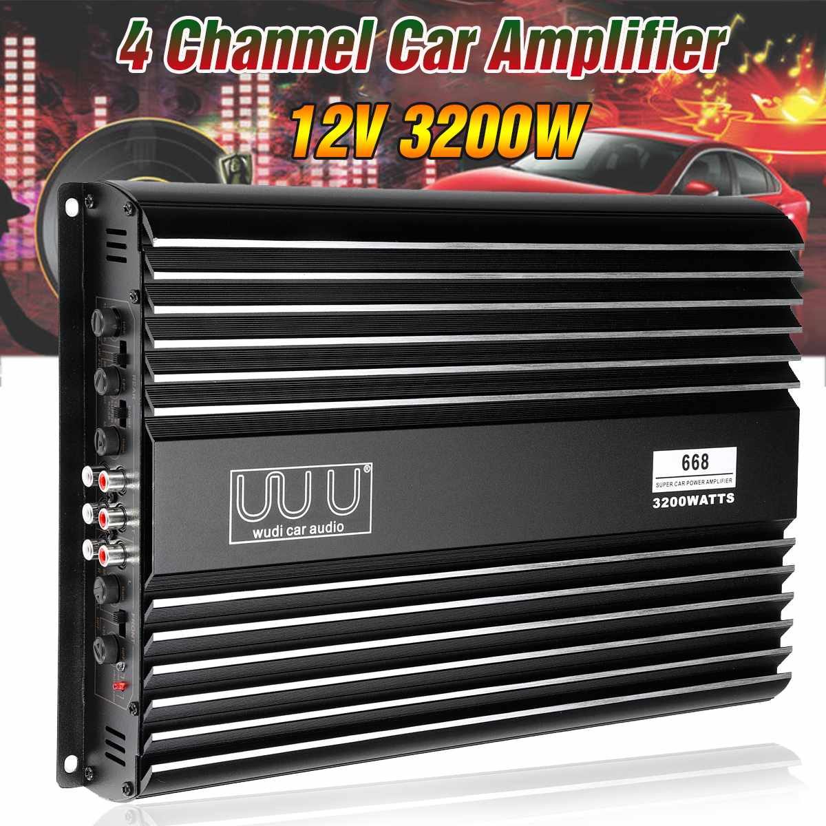 3200W 12V 4.1 Channel Car Audio Amplifier Vehicle Car Amplifier Speaker Stereo Audio Super Bass Subwoofer Prower Auto Amp