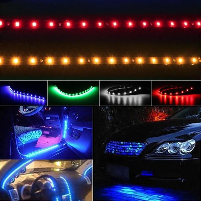 Samochód wodoodporny, odporny na wstrząsy 30cm 15 LED oświetlenie samochodowe elastyczne oświetlenie dekoracyjne pasek Bar lampa atmosfera akcesoria samochodowe
