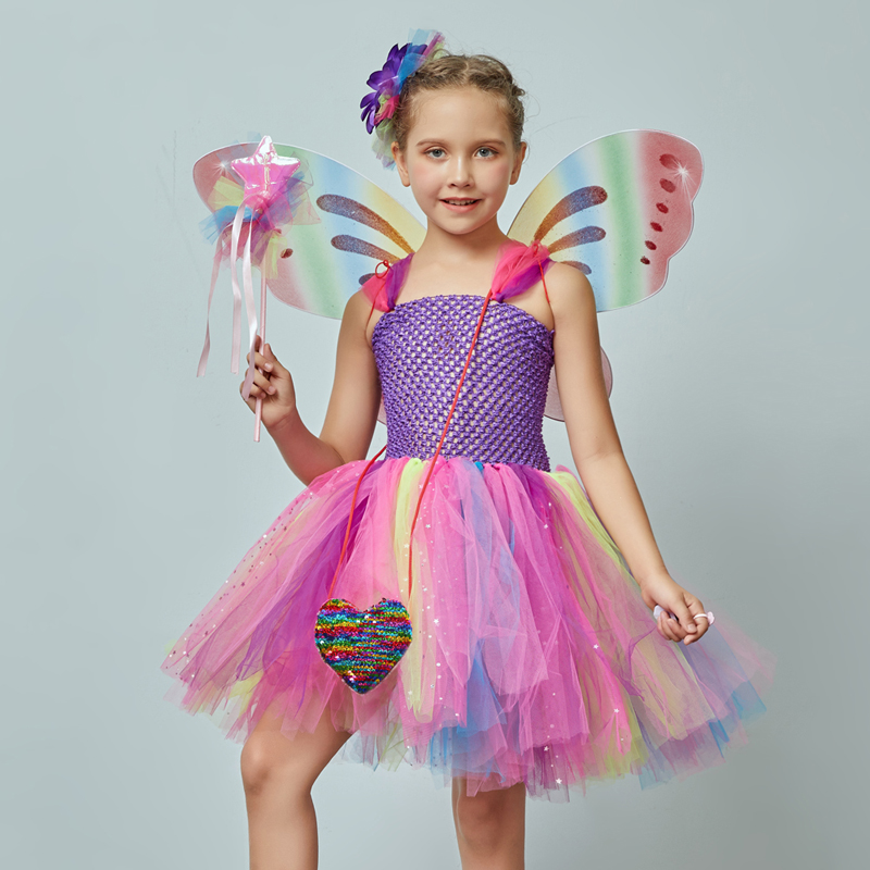 Girls Butterfly Fairy Fancy Tutu Dress Wings Costume Kids Princess Birthday Party Dress Halloween Cosplay Kids Spring Tulle Dress (2)