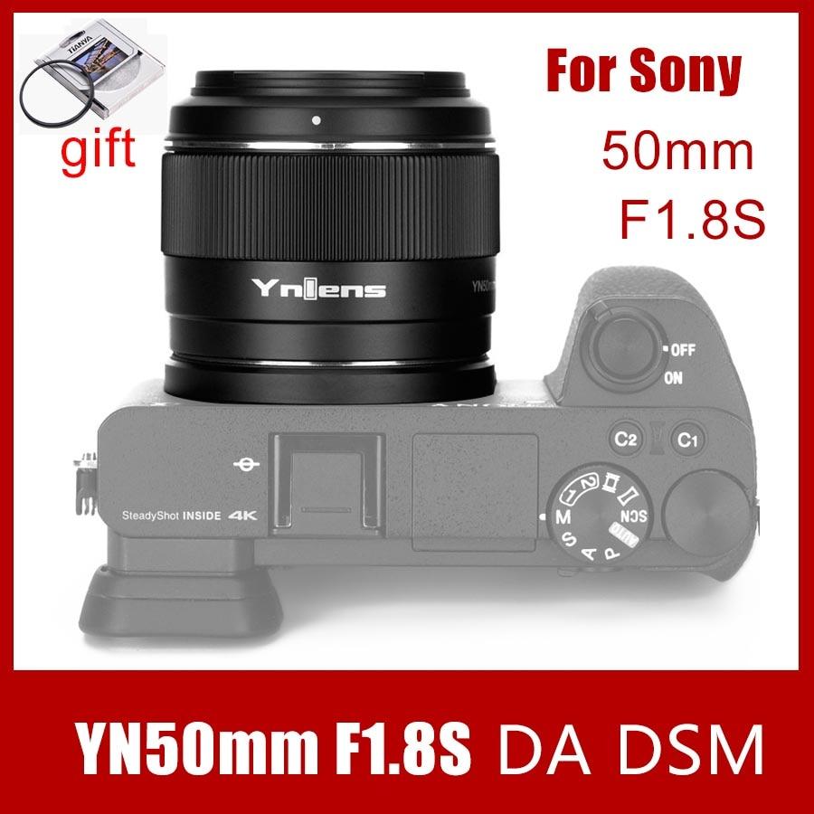 Объектив камеры Yongnuo YN50mm F1.8S DA DSM 50 мм F1.8 для Sony E-mount для SONY A6300 A6400 A6500 NEX7 APS-C рамка Автофокус AF/MF