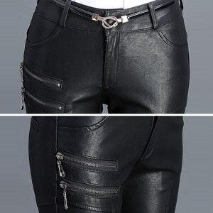 Image 4 - Sıcak PU deri orta bel pantolon kadınlar seksi kalça moda sonbahar kış kalem çevre deri pantolon pantolon kadın Pantalon Femme 2020
