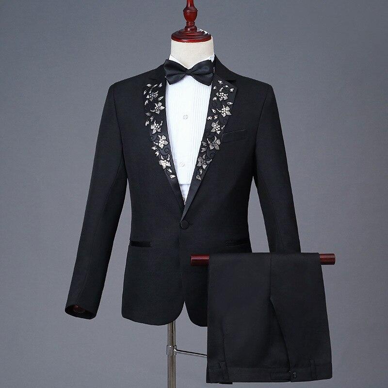 Halloween Black 2 Piece Jacket Pants Suits Embroidery Slim Men's Stage Singer Groom Wedding Banquet Tuxedo Costumes