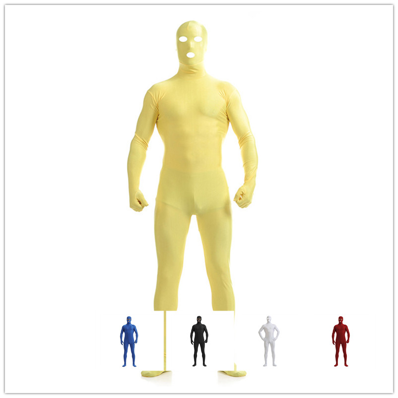 Invisibility Cloak Jumpsuits Ninja Cosplay Open Eyes And Mouth Black Man Halloween Stage Show Tight Mysterious Actor Costume