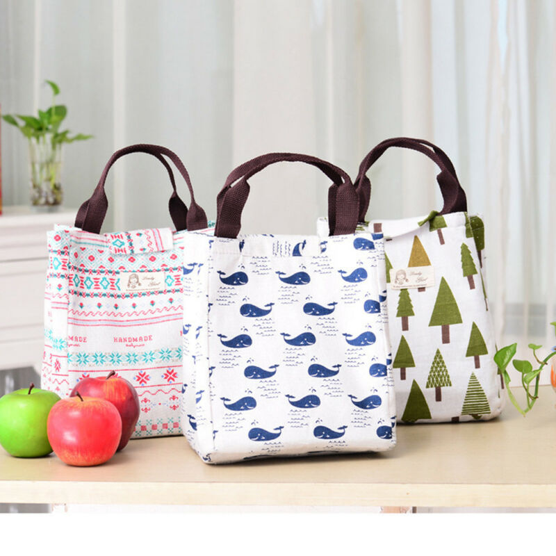 1PC Portable Lunch Bag Thermal Insulated Lunch Box Tote Cooler Bag Bento Pouch Lunch Container School Food Storage Bags