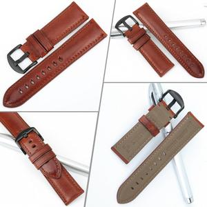 Image 3 - MAIKES Genuine Leather Watch Strap 20mm 22mm 24mm Men Watchband With Stainless Steel Buckle Watch band For Casio Fossil