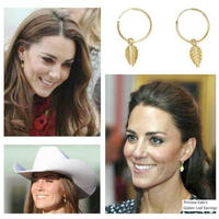 High grade Princess Kate Same Jewelry Imported Rolled Gold Non fade Injection Lines Leaf Ear Hoop Circle Earrings For Women