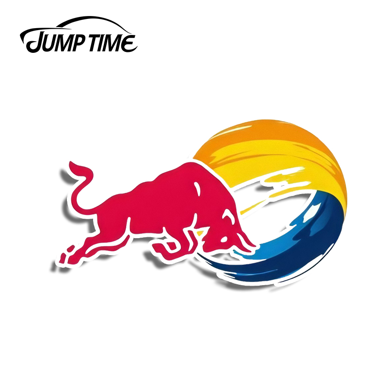 Jump Time 13cm X 7.4cm For Red Of Bull Logo Car Stickers Funny Vinyl Decal Laptop Travel Luggage Bike Waterproof Car Accessories