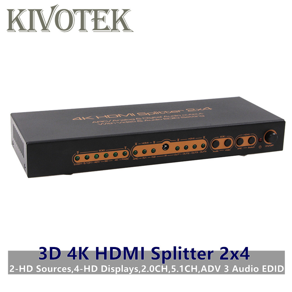3D 4K 2x4 HDMI Splitter <font><b>2</b></font> <font><b>to</b></font> <font><b>4</b></font> Hdmi <font><b>Male</b></font> Connectors <font><b>2</b></font>.0CH,5.1CH,ADV 3 Audio EDID,Power Supply For Digital HDTV PCs Free Shipping image