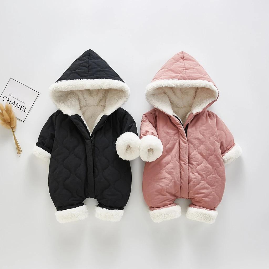 ATHEMEET Baby Adorable Hoodie Jumpsuit Snow Suit Winter Zip Up Long Sleeve One-Piece Coat