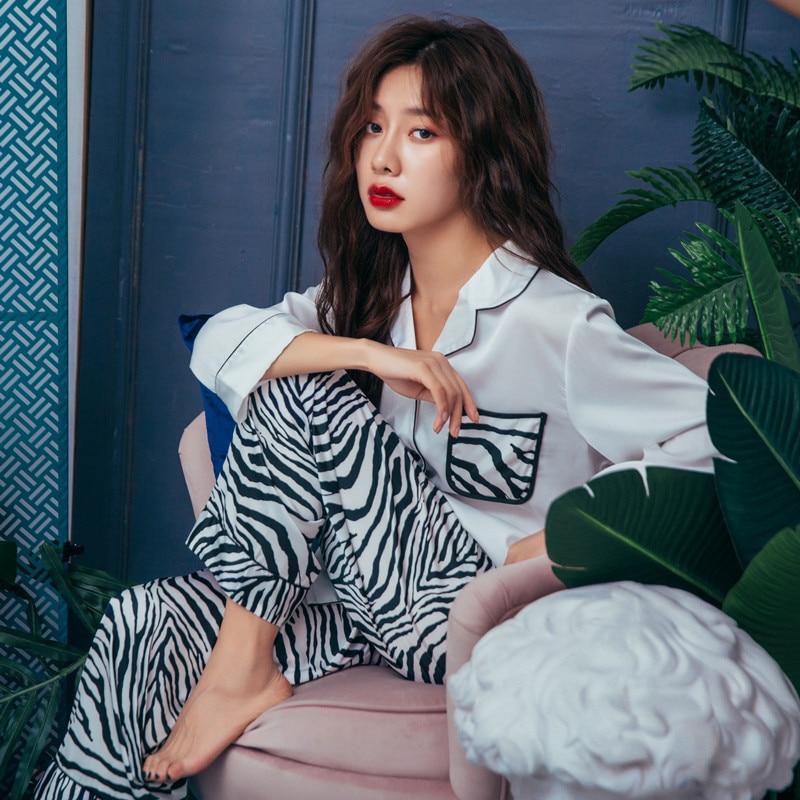 QWEEK Women   Pajama     Sets   Zebra Print Women Satin Sleepwear Autumn 2019 Long Sleeve Pijama 2 Pieces Casual Silk Pyjama Fashion
