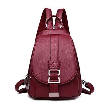 Women Backpack Soft Leather Shoulder Bags For Women Multi-Function Bagpack Female Preppy School Backpacks For Teenage Girls