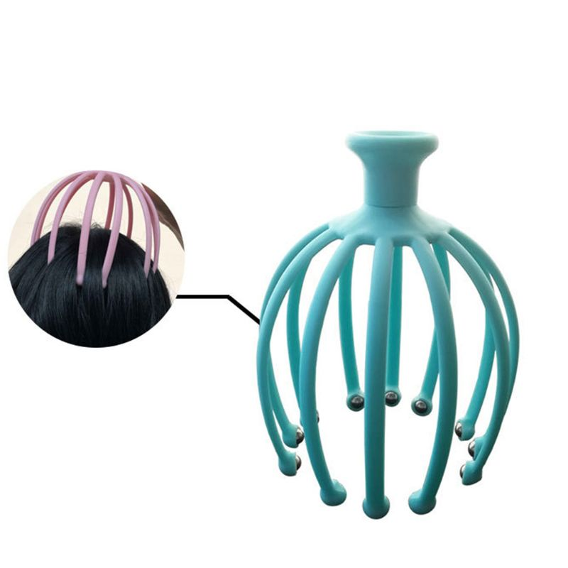 Handheld Scalp Massager with 12 Flexible Tentacles with Scrollable Steel Balls Provides Better Massage Experience