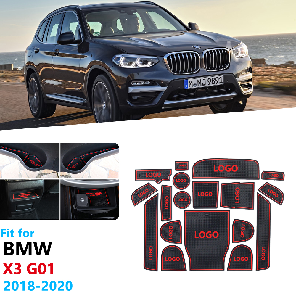 Anti-Slip Rubber Gate Slot Cup Mat for <font><b>BMW</b></font> <font><b>X3</b></font> G01 <font><b>2018</b></font> 2019 2020 Car <font><b>Accessories</b></font> Stickers X3M xDrive 20i 20d Door Groove Mat image