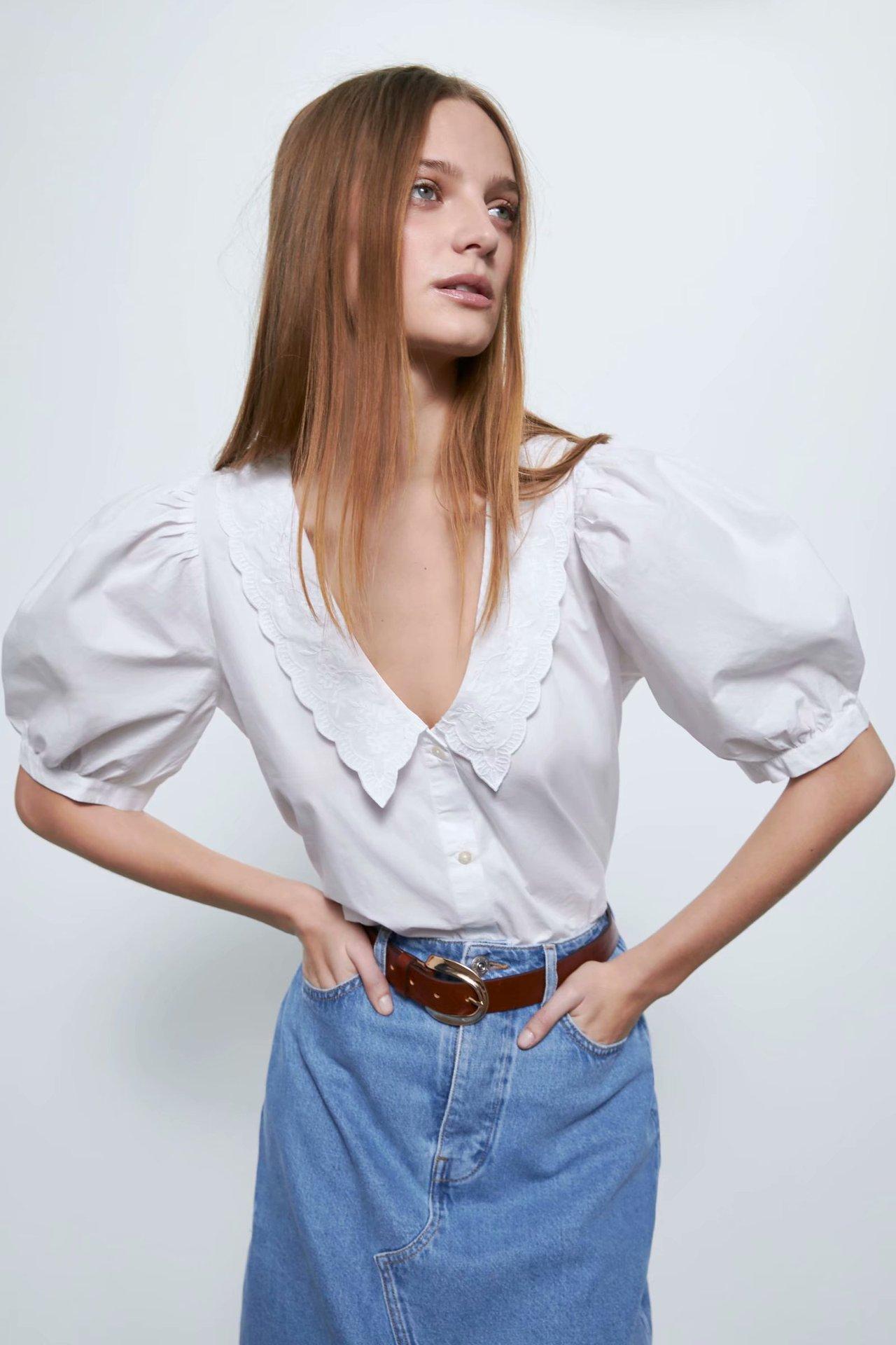 2020 New Spring Summer European Embroidered Poplin Female Shirt Zaraing Vadiming Sheining Women's White Shirt BGB2081