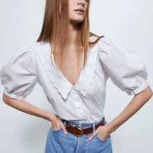 2020 new Spring Summer European Embroidered Poplin female Shirt zaraing vadiming