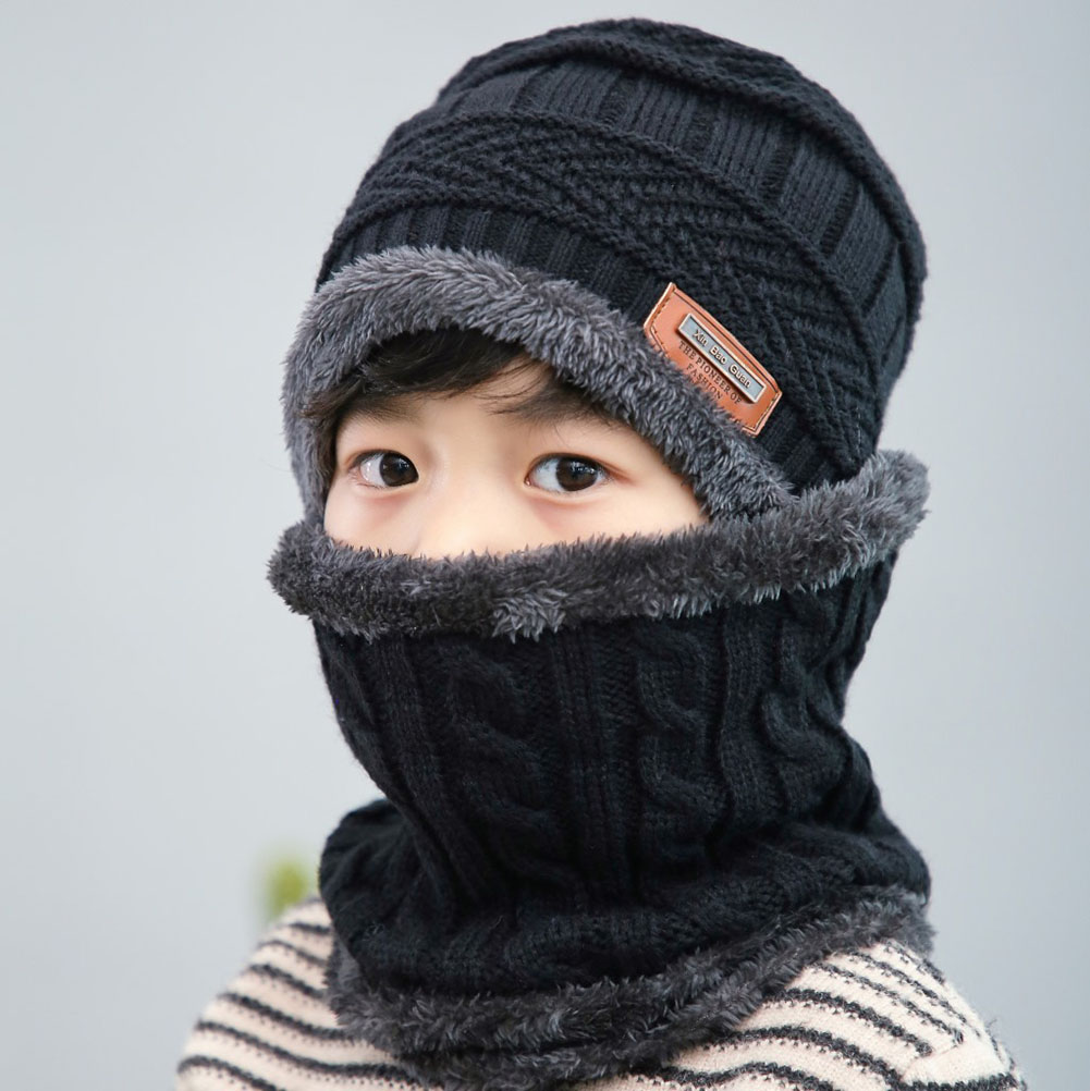 Children Winter Knitting Wool Cap With Scarf Ear Protection Warm Beanie Hat Scarf Set Warm KidsKnit Hats Skull Cap Neck Warmer