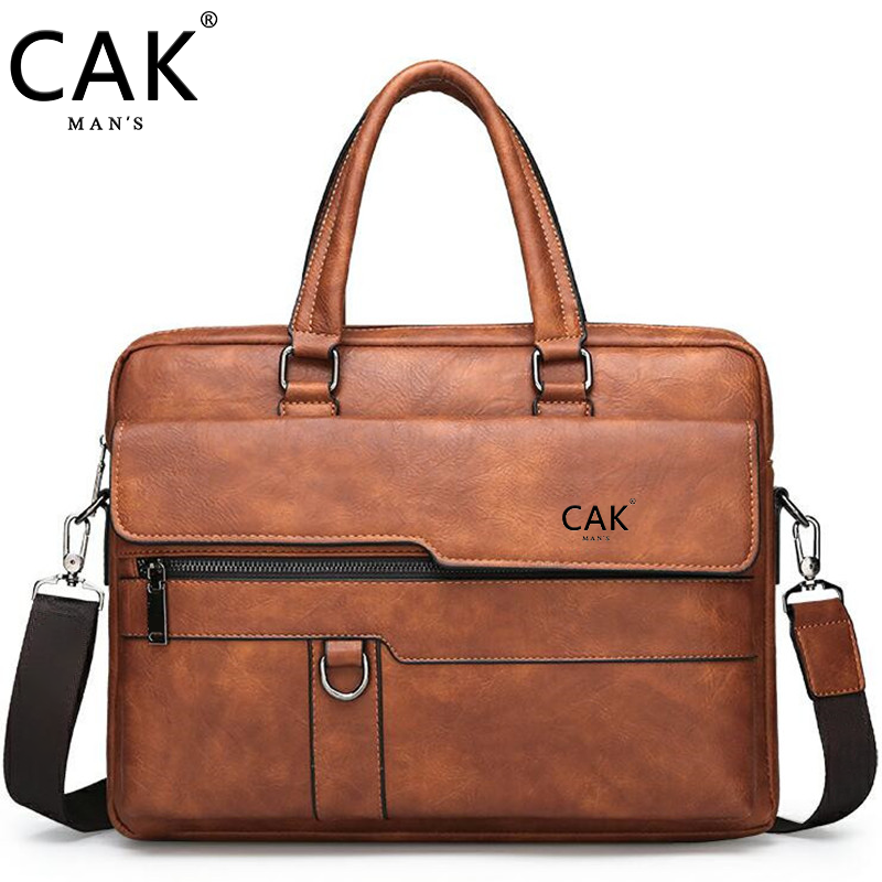 CAK Men Briefcase Bag High Quality Business Famous Brand Leather Shoulder Messenger Bags Office Handbag 13.3 inch Laptop