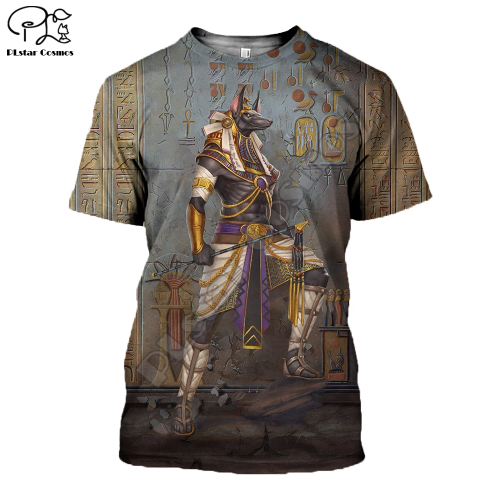 PLstar Cosmos <font><b>God</b></font> of The Egyptian Egypt Ancient Symbol Anubis Face 3dPrint Summer short sleeves T-<font><b>shirts</b></font> Unisex Streetwear S-1 image