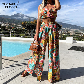 Print Boho Pant Suits Summer Women 2 Piece Sets Spaghetti Strap Crop Tops Split Wide Leg Pant Sexy Beach Vacation Outfits 1