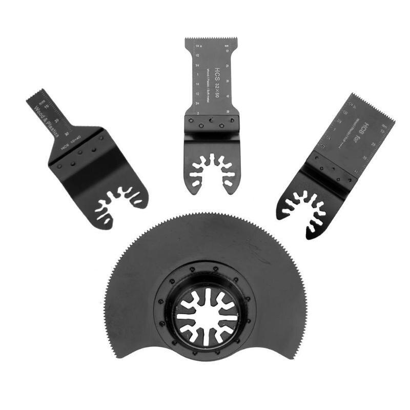 4 pçs/set oscilante multitool lâmina de serra para ferramentas elétricas renovador corte compatível com multi-ferramentas usando sistema starlock