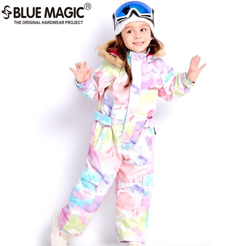 19 Ski Suits Bluemagic For Kids Waterproof Outdoor Jumpsuit Girls Boys Snowboard Jacket Waterproof  Skiing Overall  -30Degrees