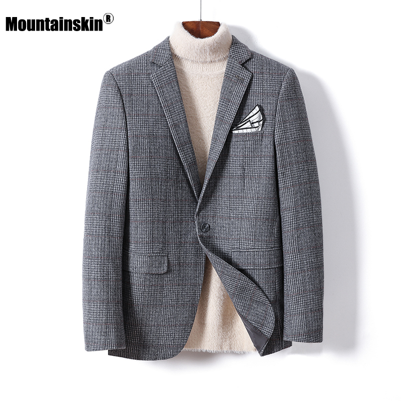 Mountainskin 2020 Men's Wool Jacket Autumn New Mens Plaid Gentleman Woolen Jacket Casual Slim Fit Handsome Coat Male SA950